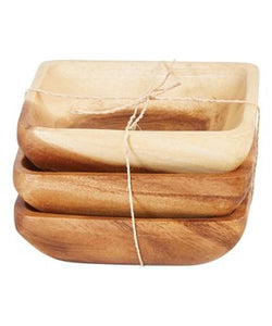 Square Acacia Wood Bowls | Set of 3
