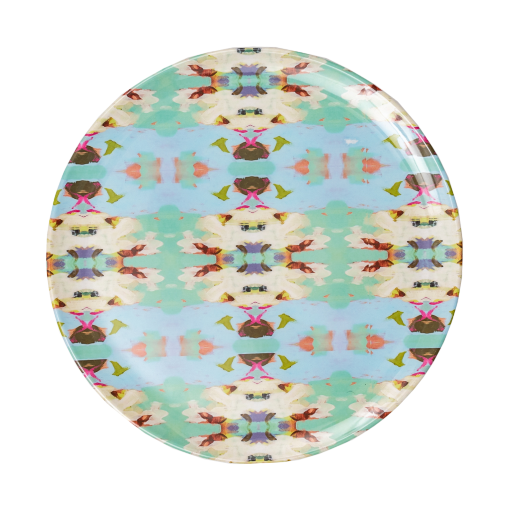 Laura Park Designs | Summer Garden Light Blue Melamine Plate