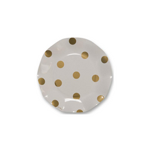 Load image into Gallery viewer, Wavy Gold Polka Dot Salad Plate