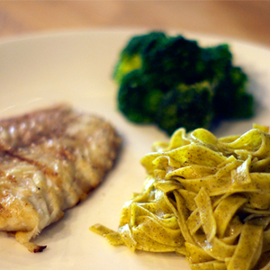 Grilled Fish with Basil Pasta