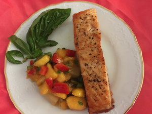 Pan Seared Salmon Filet with Peach Salsa