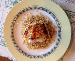 Wild Grouper on a bed of Seasoned Rice