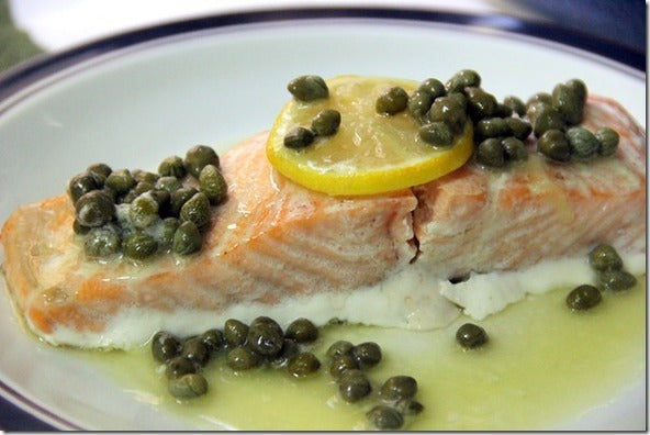 Grilled Salmon with Calamansi Caper Butter Sauce