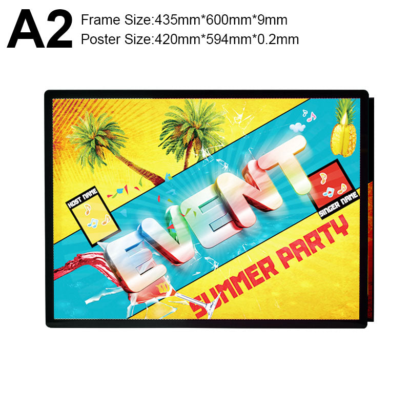 extra thin backlit flim display frame light-box A2 Size poster