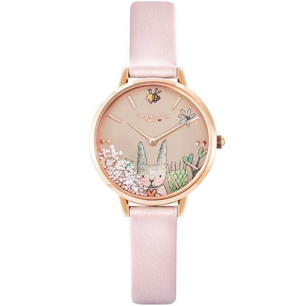 Uhr Forest Fairytale Animal Leder Rosa