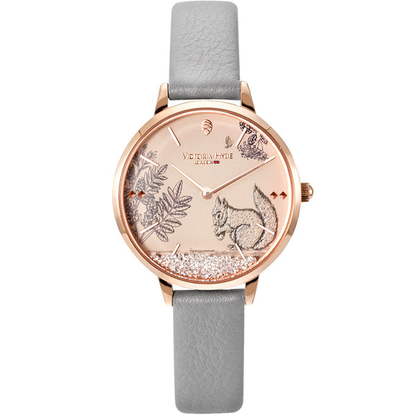 Uhr Forest Fairytale Animal Leder Grau