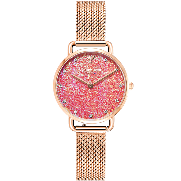 Uhr Galaxy Sparkle Mesh Roségold Rot
