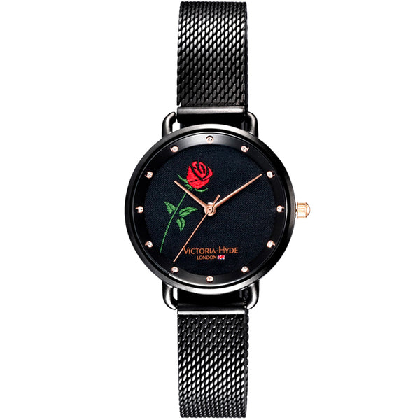 Uhr English Rose Textile Mesh Schwarz