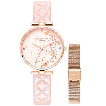 Snowflake Palace Fan T Bar Lingge Pink Leather Mesh Rose Gold