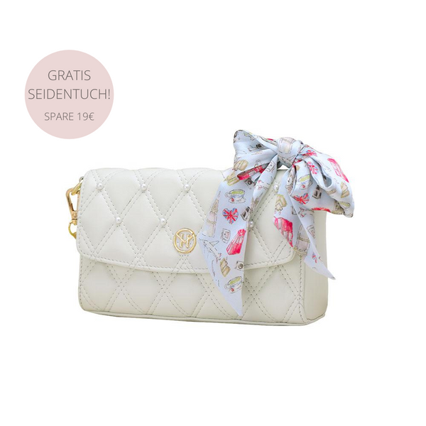 Set Pearl Quilted Shoulder Bag Leder Weiß