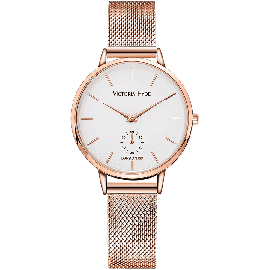 Metropolitan Mesh Rose Gold Seconds Dial
