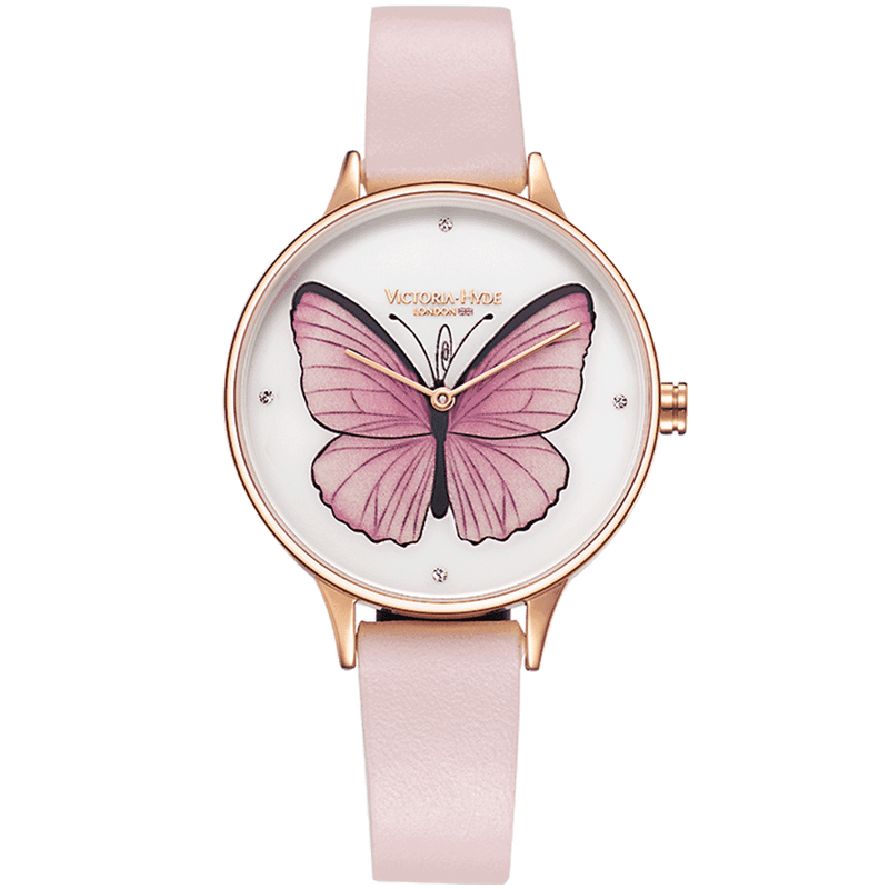 Uhr Parsons Green Butterfly Leder Rosa Weiß
