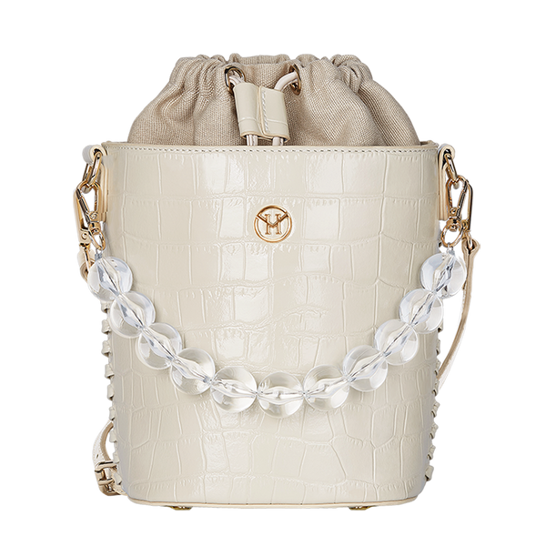 Handtasche Bead Chain Bucket Bag Leder Beige