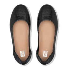 Load image into Gallery viewer, FitFlop™ Allegro Croc-Embossed Leather Ballerinas