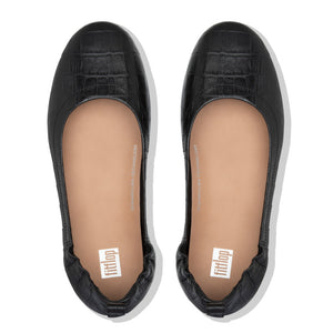 FitFlop™ Allegro Croc-Embossed Leather Ballerinas