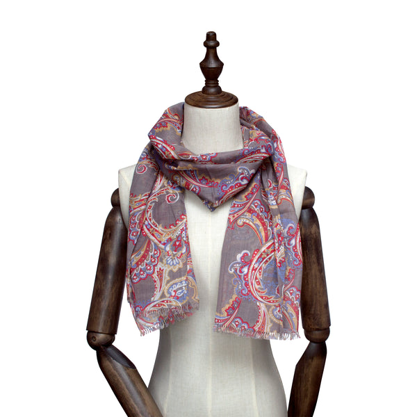 Dove Base-Toned Paisley Scarf