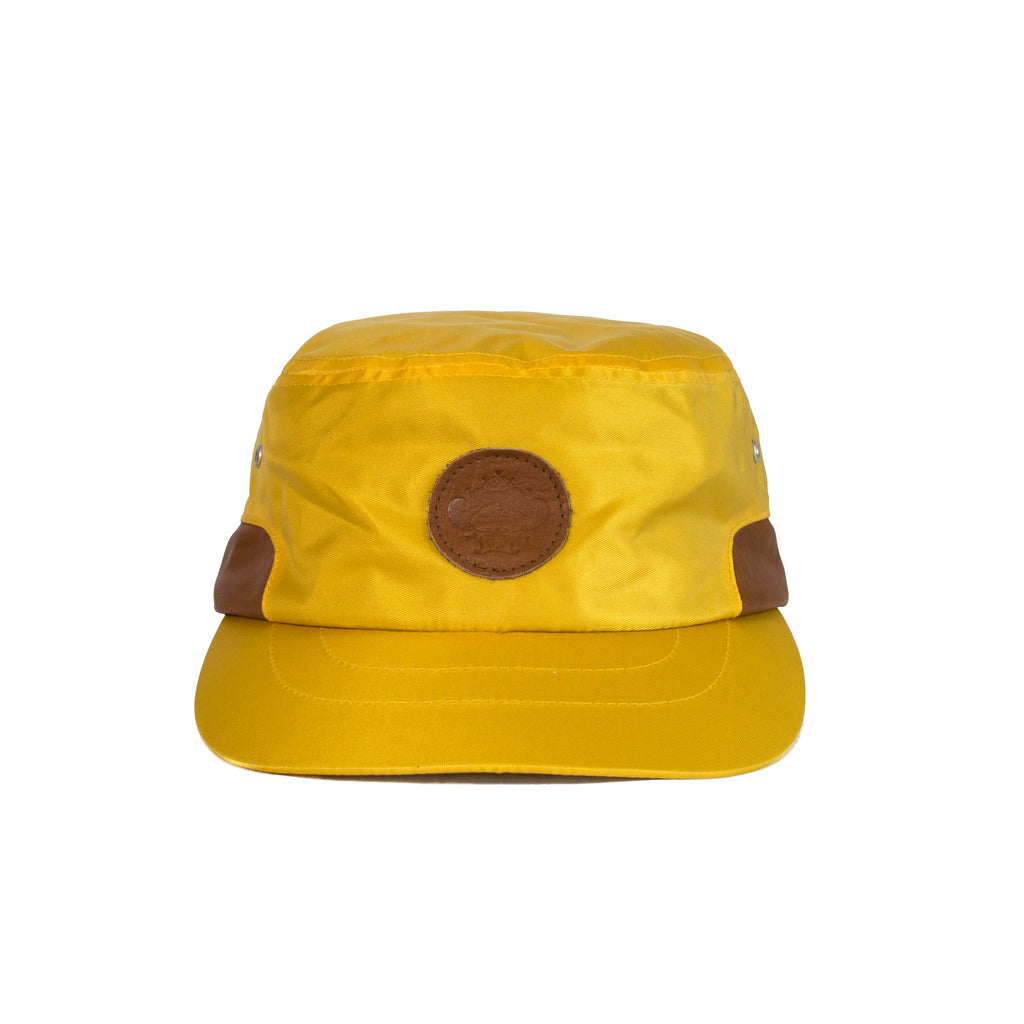 Yellow Cap with Brown Leather Sides