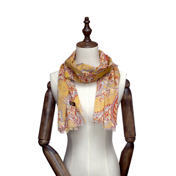 Dandelion Yellow Base-Toned Paisley Scarf