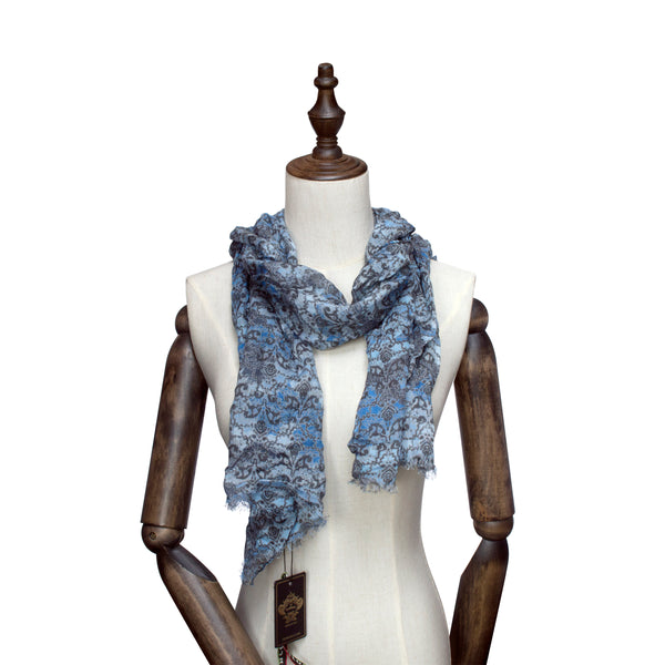 Sky Blue Base-Toned Floral Imprint Scarf
