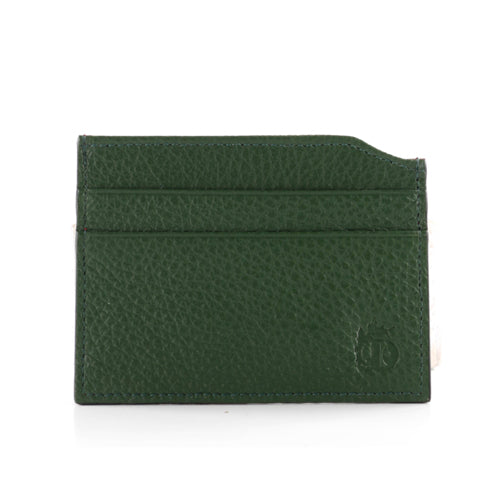 Kasella Grain Leather Card Case in Green and Red