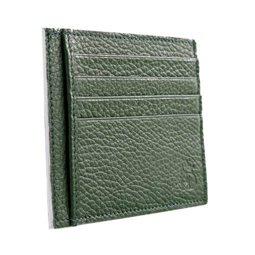Rango Grain Leather Card Case in Green and Red