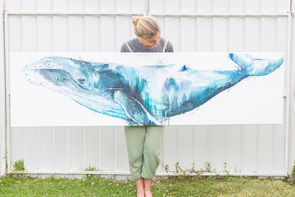 Gigantic oil whale painting on canvas