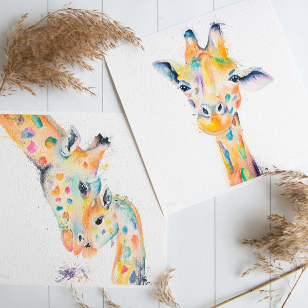 Watercolour animals artwork wildlife collection, giraffe prints, mom and baby giraffe in rainbow painting prints.