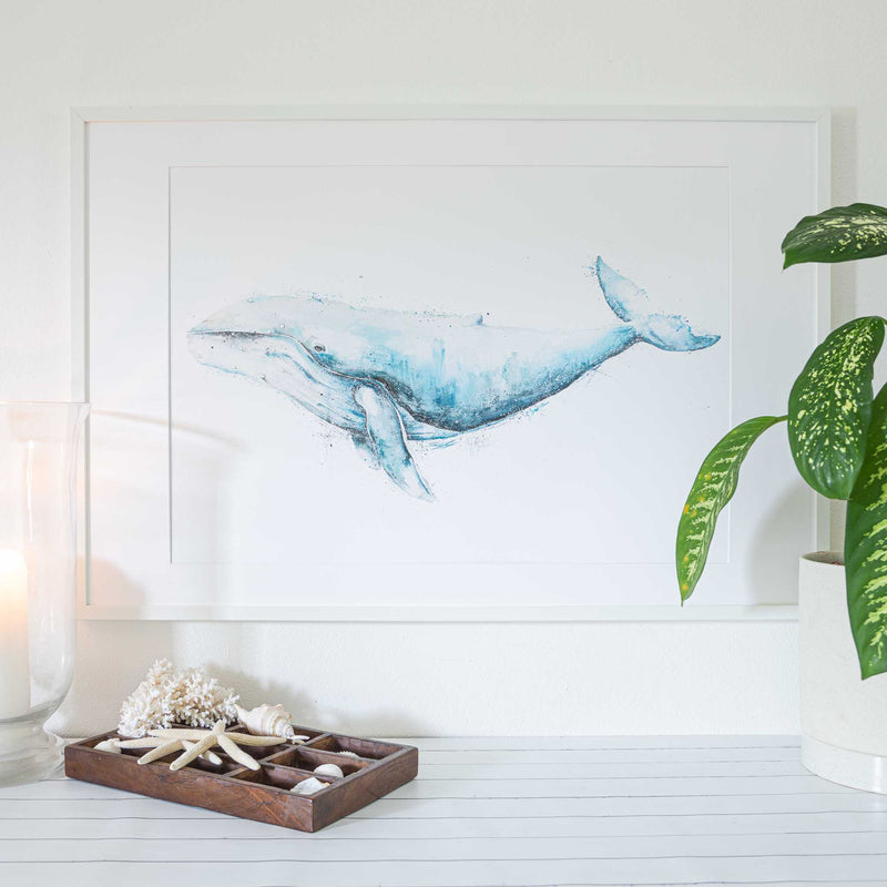 A1 white art print frame with Giant Humpback Whale