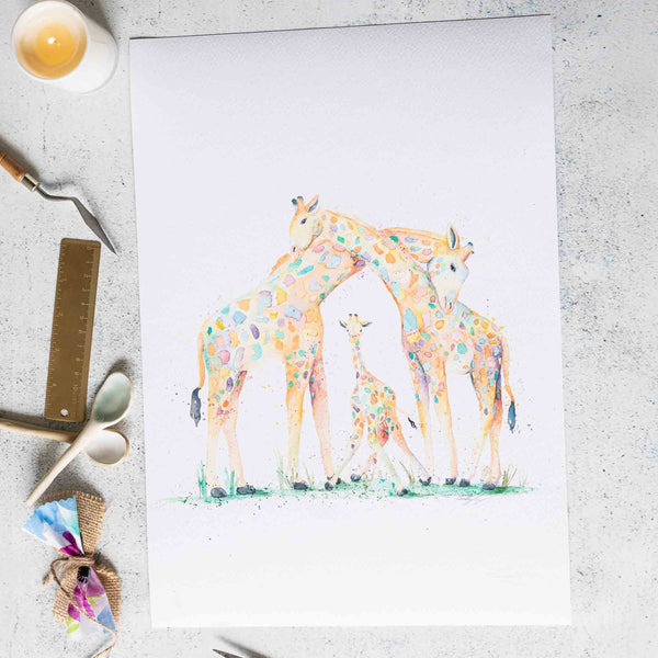 Giraffe family watercolour animal artwork