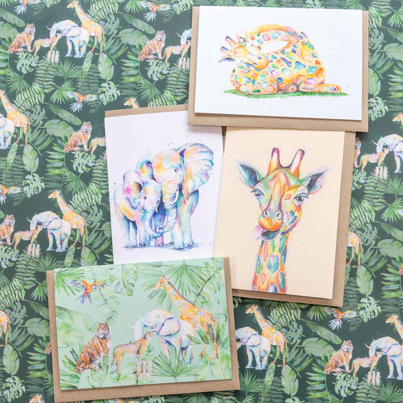 greeting cards and wrapping paper of african safari animals