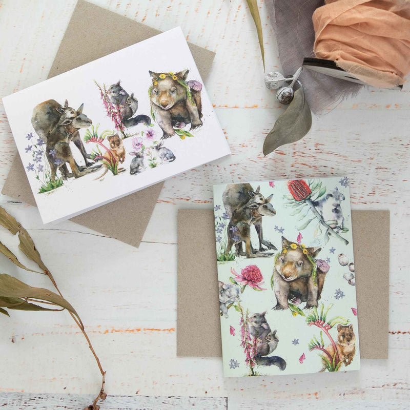 Green & Pink Australian Online Greeting Cards
