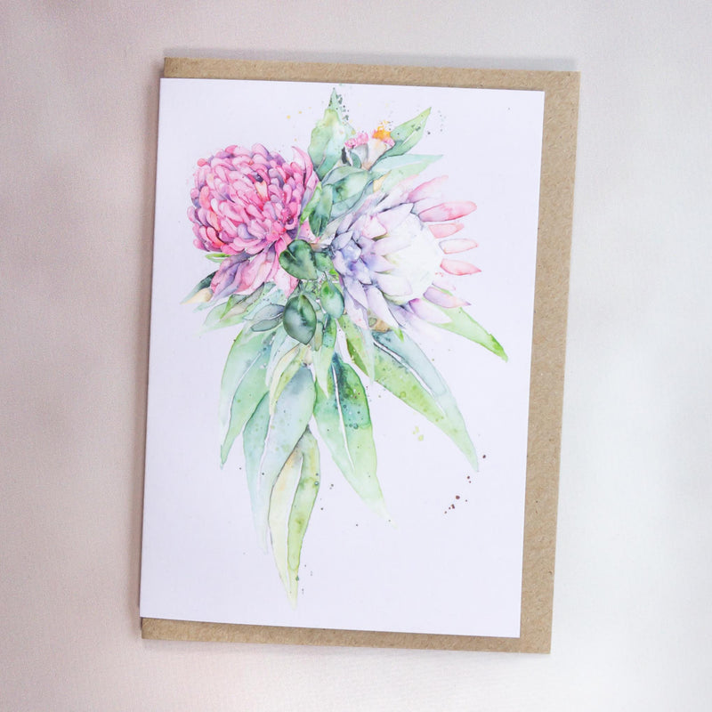 Australian native flowers waratah and protea greeting card