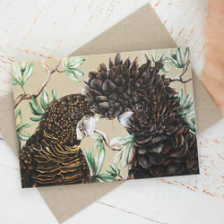 Black Cockatoos Copper Greeting Card