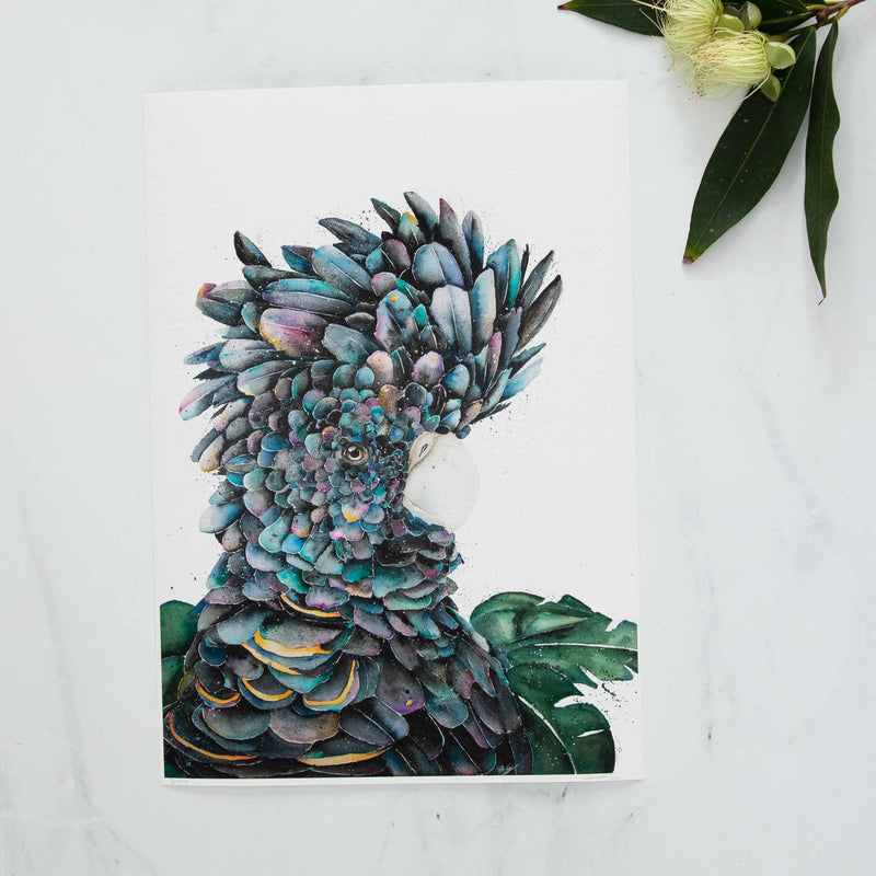 Elvis the Black Cockatoo Rainbow Watercolour Print