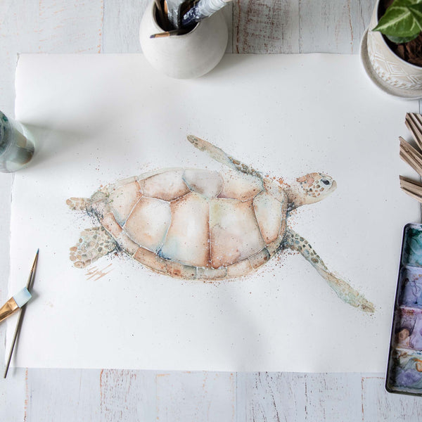 Golden Sea Turtle Watercolour animal artwork
