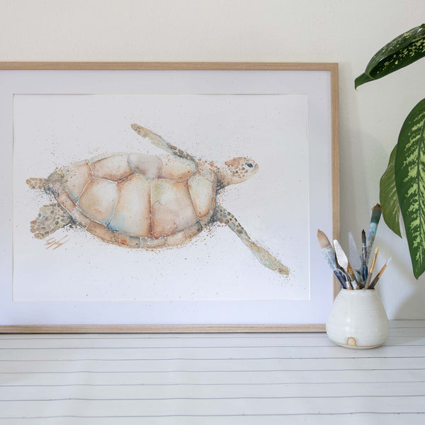 Blonde Green sea turtle watercolour artwork framed