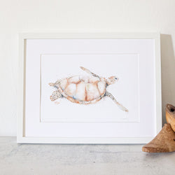 Framed blonde turtle artwork print