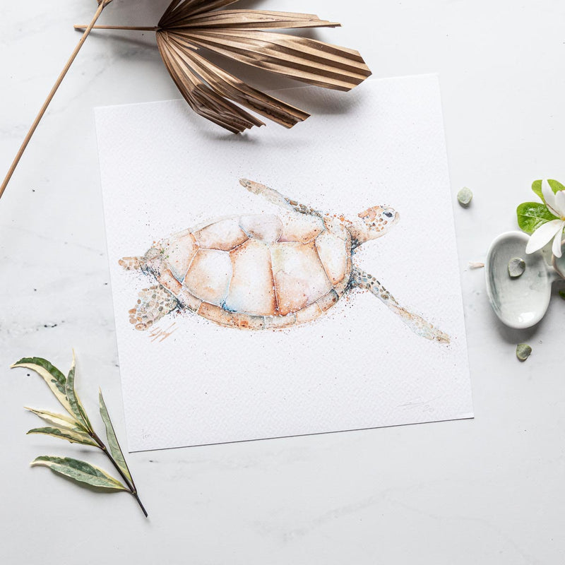 Small Square Blonde turtle artwork print