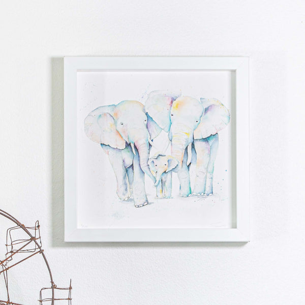 Elephant print in small square frame