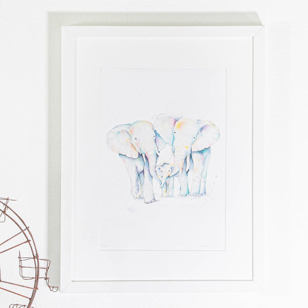 watercolour elephant artwork print