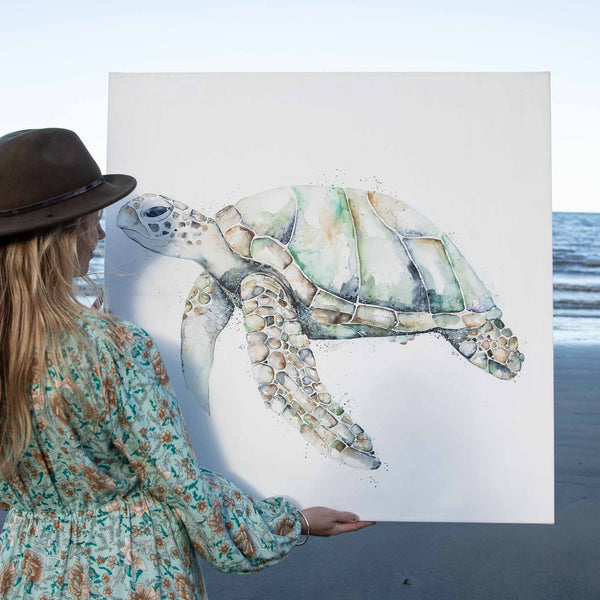 Elliot Green Sea Turtle Watercolour Canvas Artwork