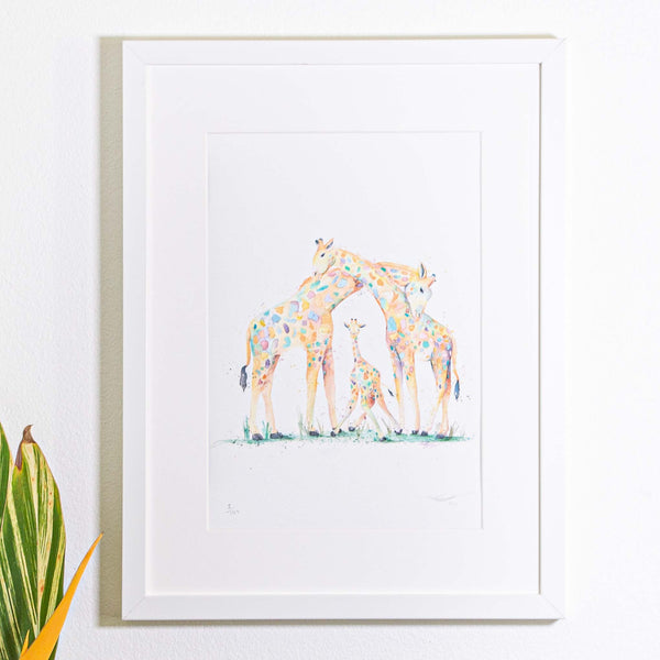 Three giraffes watercolour pirnt