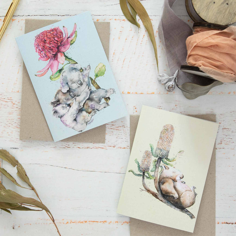 Koala & wombat greeting cards