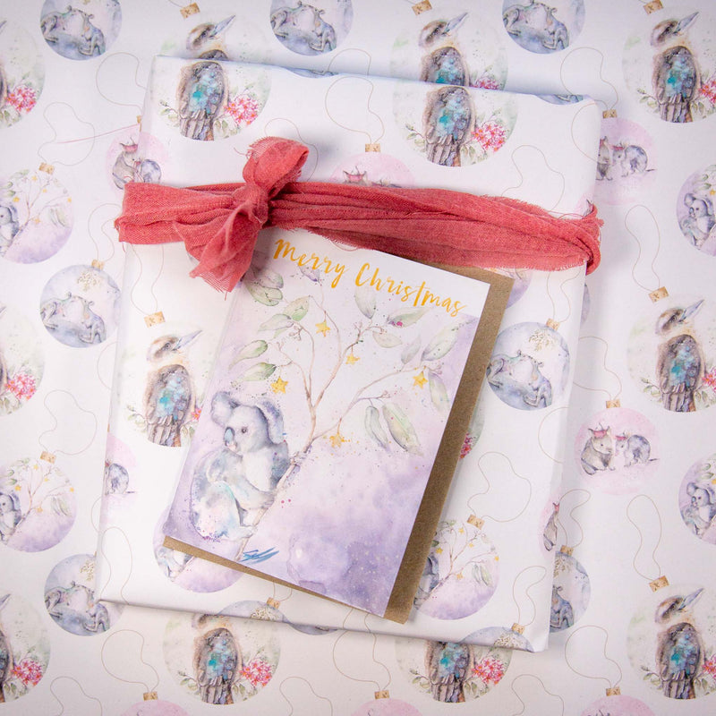 Koala greeting card and christmas wrapping paper