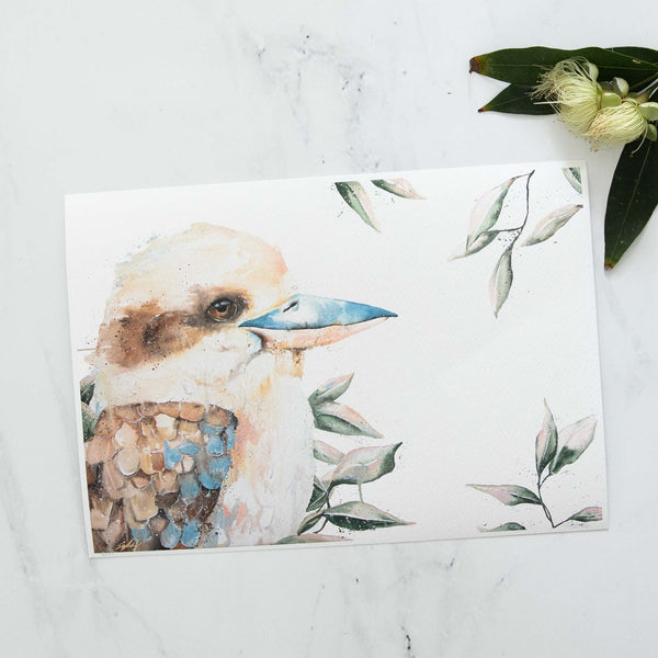 Blue winged Kookaburra animal artwork print