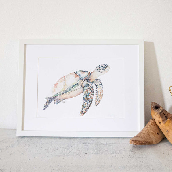 Hawksbill Turtle Watercolour animal artwork