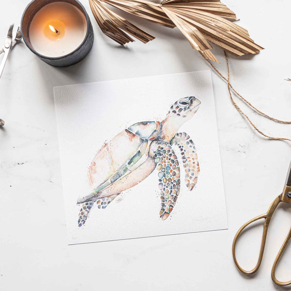 Hawksbill Turtle Watercolour animal artwork print