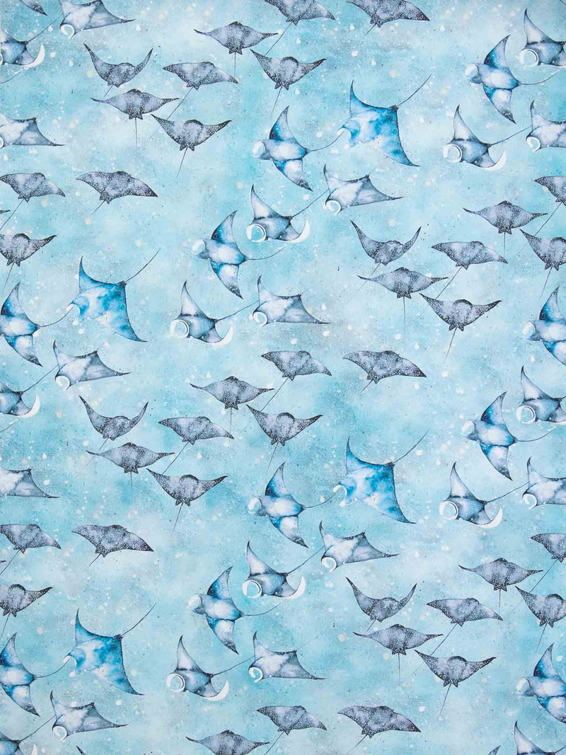 Manta Ray & Eagle Rays wrapping paper sheets with blue background