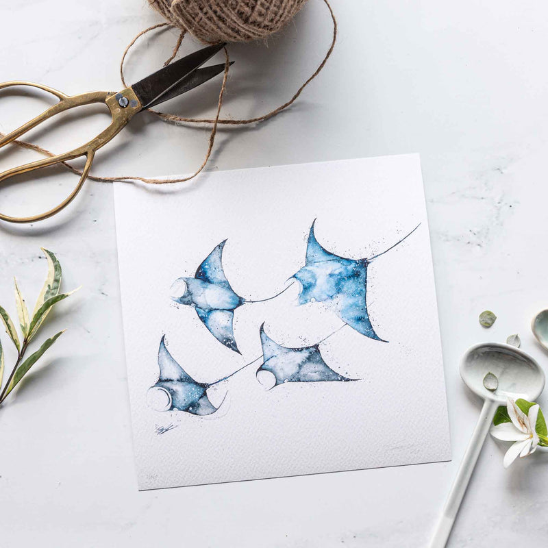 Watercolour animal artwork manta rays