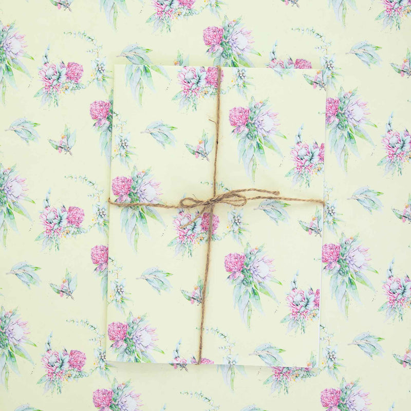 Native floral wrapping paper sheets by Stephanie Elizabeth Artwork